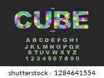 pixel retro video game font. 80'... | Shutterstock .eps vector #1284641554