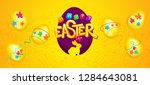 happy easter yellow inscription ... | Shutterstock .eps vector #1284643081