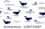 seamless pattern with whale.... | Shutterstock .eps vector #1284715087