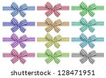 Set Of Colors Checkered Bows...