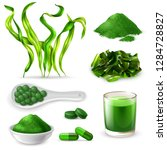 spirulina realistic set with... | Shutterstock .eps vector #1284728827