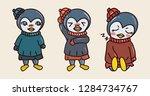 penguin sticker emoticon... | Shutterstock .eps vector #1284734767