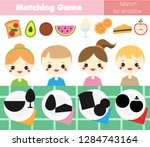 shadow matching game for... | Shutterstock . vector #1284743164
