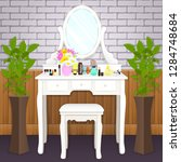 dressing table with mirror with ...   Shutterstock .eps vector #1284748684