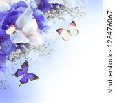 Stock photo flowers and butterfly blue hydrangeas and white irises 128476067