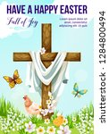 easter cross with spring flower ... | Shutterstock .eps vector #1284800494