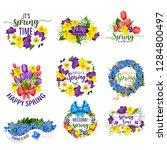 hello spring flowers and floral ... | Shutterstock .eps vector #1284800497