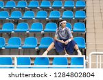 successful sportswoman with... | Shutterstock . vector #1284802804