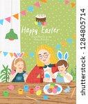 happy easter  cute vector... | Shutterstock .eps vector #1284805714