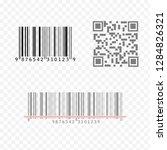 realistic barcode and qr code... | Shutterstock .eps vector #1284826321