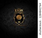 vector emblem with golden lion | Shutterstock .eps vector #1284842764