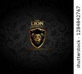 vector emblem with golden lion | Shutterstock .eps vector #1284842767