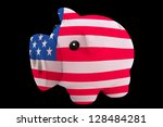 piggy rich bank in colors national flag of us for saving money on black background - stock photo