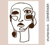 portrait a woman with earring... | Shutterstock .eps vector #1284850684