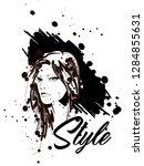 fashion girls face. woman face. ... | Shutterstock .eps vector #1284855631