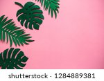 tropical leaves in a row on a... | Shutterstock . vector #1284889381