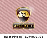 gold shiny badge with phone... | Shutterstock .eps vector #1284891781