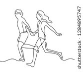 running couple continuous line... | Shutterstock .eps vector #1284895747