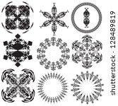 set of mandalas on a white... | Shutterstock .eps vector #128489819