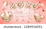 pink gold foil balloons on the... | Shutterstock .eps vector #1284916051