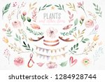 watercolor boho floral wreath.... | Shutterstock . vector #1284928744