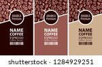 vector set of three coffee bean ...   Shutterstock .eps vector #1284929251