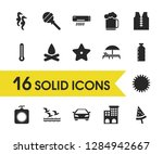 summer icons set with vest  car ...