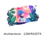 concept in flat style with... | Shutterstock .eps vector #1284962074