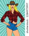 sexy country girl in short jean ... | Shutterstock .eps vector #1284975997