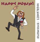 drunk jew dancing with cup of... | Shutterstock .eps vector #1284978544