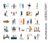 daily life flat icons pack is... | Shutterstock .eps vector #1285017097