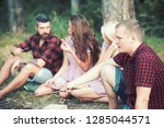 man relax with friends in... | Shutterstock . vector #1285044571