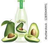 avocado drink bottle... | Shutterstock .eps vector #1285044991