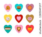 cakes in the hearts isolated...   Shutterstock .eps vector #1285049197