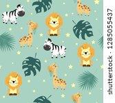 hand drawn seamless pattern... | Shutterstock .eps vector #1285055437