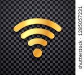 golden wifi vector icon. gold... | Shutterstock .eps vector #1285057231