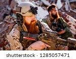 army rangers with assault... | Shutterstock . vector #1285057471