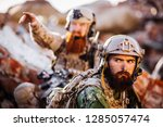 army rangers with assault... | Shutterstock . vector #1285057474