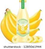 banana juice bottle... | Shutterstock .eps vector #1285061944