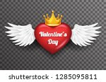 royal crown valentine day heart ... | Shutterstock .eps vector #1285095811