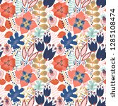 floral seamless pattern on... | Shutterstock .eps vector #1285108474