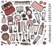 vector. contour cosmetic... | Shutterstock .eps vector #1285119124