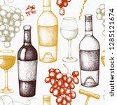 vintage wine background. vector ... | Shutterstock .eps vector #1285121674