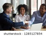 during business meeting with... | Shutterstock . vector #1285127854