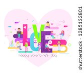 valentines day greeting banner. ... | Shutterstock .eps vector #1285132801