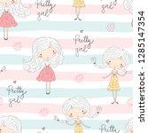 cute little girl vector... | Shutterstock .eps vector #1285147354