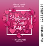 valentines day sale  discont... | Shutterstock .eps vector #1285158154