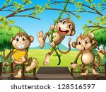 illustration of monkeys at the... | Shutterstock .eps vector #128516597