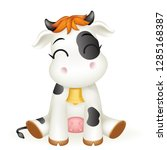 little baby cow cute 3d calf... | Shutterstock .eps vector #1285168387