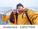 couple tourists taking selfie...   Shutterstock . vector #1285177504